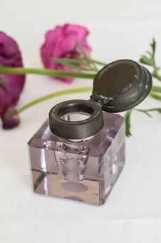 Antique Amethyst Glass Inkwell