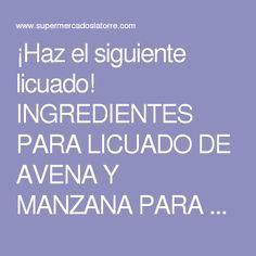 ¡Haz el siguiente licuado! INGREDIENTES PARA LICUADO DE AVENA Y MANZANA PARA EL COLESTEROL 1 vaso de jugo de naranja natural 1/4 tallo de apio 1/2 manzana pelada 1/2 cucharada de avena 1 rebanada de piña natural 1 cucharada de miel de abeja