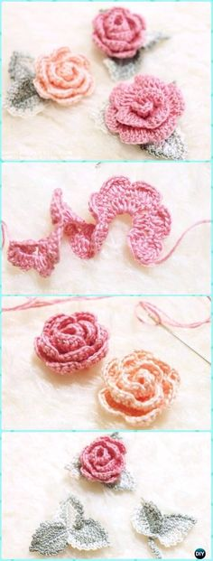 Crochet 3D Rose Flower with Leaf Free Pattern & Diagram - Crochet 3D Rose Flower Free Patterns