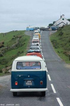 parade of Volkswagen Bus ☮ #VWBus ☮ pinned by www.wfpcc.com