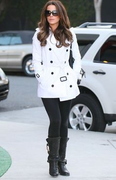 Beautiful White Coat with Black Leggings and Boots - Kate Beckinsale