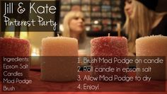 Here is our first of many Pinterest Parties. Click The photo to see the full video explanation.  Repin this and include @jillandkate #pinterestparties and your own twitter handle in the description for a chance to win one of the handmade holiday candles from our video. We will announce the winners Monday, Dec. 3rd on our Facebook page.