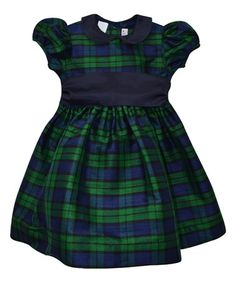 Look at this #zulilyfind! Green & Blue Plaid Silk Dress - Infant, Toddler & Girls #zulilyfinds