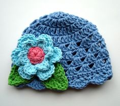 Crochet Beanie Hat, Baby Girl Hat, Toddler Hat, Blue, MADE TO ORDER