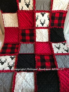 Rustic Lodge Woodland Buffalo Plaid Deer Red & Black Baby Travel Rag Quilt Photo Prop Bedding Custom MADE TO ORDER - Baby rag quilts, Rag quilt, Rag quilt patterns, Quilt bedding - Baby Rag Quilts, Flannel Quilts, Plaid Quilt, Boy Quilts, Colchas Quilting, Quilting Thread, Quilting Projects, Sewing Projects, Black Baby Cribs