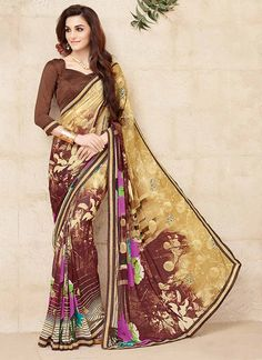Attarctive Brown Georgette Embroidery Indian Designer Saree At Reasonable Rates