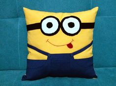 FreeShipping-All about home textile, aprons and pillows by SosyalTerzi Minion Nursery, Minion Pillow, Geek Home Decor, Fabric Toys, Home Textile, Geek Stuff, Cushions, Textiles, Throw Pillows