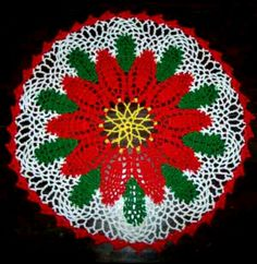 This Christmas crochet poinsettia doily is worked in knitting cotton from Coats in white, yellow, green and red. Crochet Snowman, Christmas Crochet Patterns, Holiday Crochet, Crochet Doily Patterns, Thread Crochet, Filet Crochet, Crochet Crafts, Crochet Projects, Crochet Ideas