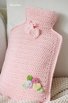 Crocheted hot water bottle cover. Do people still have these??? Really cute <3