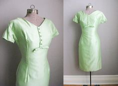 Hey, I found this really awesome Etsy listing at https://www.etsy.com/listing/183919619/1950s-wiggle-dress-vintage-celery-green