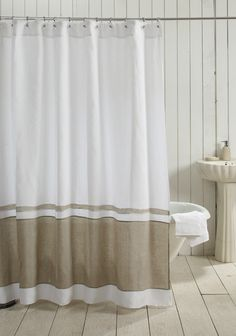 Ticking Stripe Shower Curtain IN STOCK Black Gray Navy Brown Stripe Availa