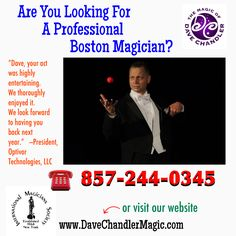 """The Boston Magician"" - Serving New Hampshire, Massachusetts, and beyond. Call 857-244-0345 Book Dave For Your Next Event!"