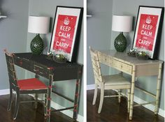 How to paint fake wood furniture.