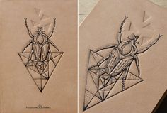 Tattooed Leather Art. Bug series. Mono Bug by PUNCTURED-ARTEFACT