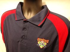 COOPERSTOWN DREAMS PARK MLB HOF Polo Shirt Navy & Red Men's L 100% Polyester