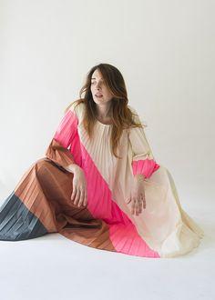 Sunburst Pleat Flared Dress-Sofie d'Hoore at Jack Straw Kaftan, Flare Dress, Dress Up, Textiles, Mode Inspiration, Colorful Fashion, Look Cool, Dream Dress, Get Dressed
