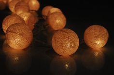20 x Cream color cotton ball Bali lantern string by cottonlight via Etsy $27