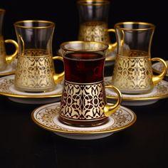 "Andalusia-Gold Tea cups With Holder-Thin Waist Turkish Tea Gold Design With Porcelain Saucers Hot Tea ""SHAI"" Set 6 Cups & 6 Saucers Made in Turkey Ships from USA Fancy Tea Cups, Cute Tea Cups, Turkish Coffee Cups, Turkish Tea, Melamine Dinnerware Sets, Stoneware Dinnerware, Tea And Crumpets, Fancy Dishes, Tea Service"