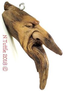 ORIGINAL WOOD SPIRIT CARVING TALISMAN MAGIC CHARM WIZARD MINIATURE NANCY TUTTLE #Surrealism