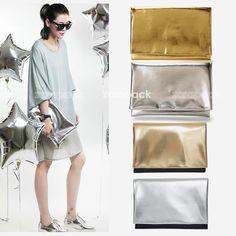 Новый конструктор большой металлического золота серебра раз за женщины клатч из искусственной кожи сумочка конверт ит сумка