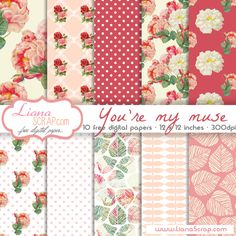 Free digital paper pack – You're My Muse Set.by liana Free digital paper with flower pattern, roses background and polkadots print in a beautiful combination of coral, pink and white. Free Digital Scrapbooking, Digital Scrapbook Paper, Digital Paper Freebie, Printable Scrapbook Paper, Printable Paper, Digital Papers, Printable Designs, Free Paper, Paper Background