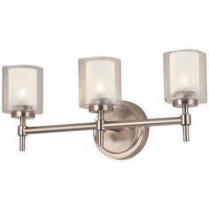 Bel Air Lighting 3-Light Brushed Nickel Bathroom Vanity Light This Bel Air Lighting product works with three 60-watt halogen bulbs.  Model Description: