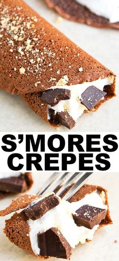 Easy S'MORES CREPES that make the perfect breakfast or brunch recipe. Thin chocolate crepes are filled with marshmallow fluff, graham crackers and chocolate chunks. From cakewhiz.com