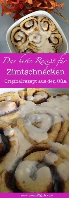 Zimtschnecken: Original Rezept aus den USA... Cinnamon Rolls. Hefeteig gefüllt mit einer Zucker Zimt Butter Füllung und einem typisch amerikanischen Frosting.