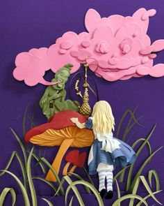 Alice in Wonderland paper art.