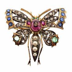 Victorian 14K Gold Ruby Emerald Sapphire by KensingtonAntiques