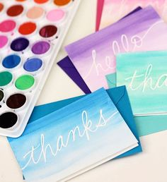 Use watercolors to make this custom stationery.