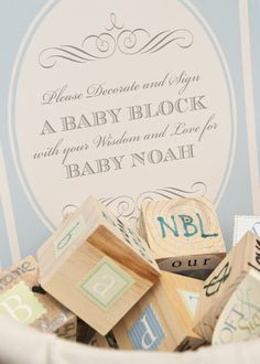 fun baby shower activity - decorate wooden baby blocks for mom to keep Fiesta Shower, Shower Party, Baby Shower Parties, Baby Boy Shower, Baby Shower Gifts, Baby Gifts, Baby Showers, Baby Presents, April Showers