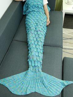 | Black Friday Sale: $18 off $100+ Using Code ZFCODE2016 | Fish Scale Knit Mermaid Throw Blanket LAKE BLUE: Home | ZAFUL