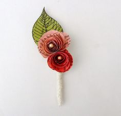 Shades of Pink  Vintage Book Paper Buttonhole Boutonniere