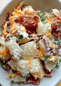 Tangy Potato Salad with Bacon - Recipe, Side Dish, Quick and Easy, Potato, Mustard, Vinegar, Olive Oil, Onion, Cheese