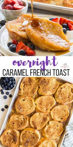 Overnight Caramel French Toast Overnight french toast baked with sticky caramel sauce that you don't have to feel guilty about! The perfect overnight breakfast for any holiday. Make Ahead French Toast, Overnight French Toast, Overnight Breakfast, French Toast Bake, Make Ahead Breakfast, Light Breakfast Ideas, Breakfast Bites, Easy Brunch Recipes, Best Breakfast Recipes