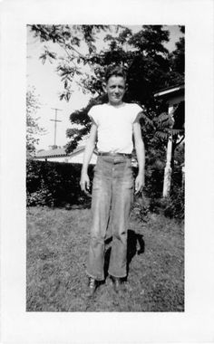 Black and White Vintage Snapshot Photograph Teen Boy Yard Smile 1940's