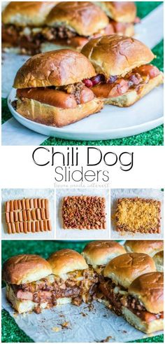 Chili Dog Sliders is the ultimate football party food! Hot dogs, chili, and cheese, make this easy slider recipe perfect for the big game. Use your leftover chili to make this easy appetizer recipe or dinner recipe that everyone will love! Slider Recipes, Dog Recipes, Cooking Recipes, Cooking Chili, Cooking Cake, Cooking Bacon, Sausage Recipes, Football Party Foods, Football Food