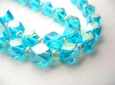Aqua Glass Beads  Square Glass Beads  by BohemianGypsyCaravan