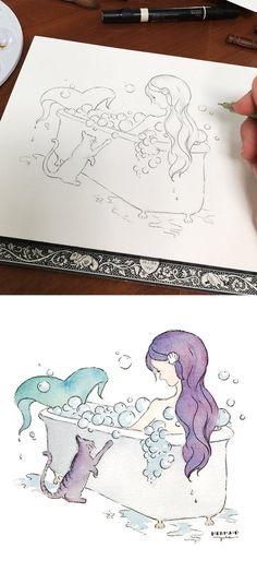 Mermaid Art - Mermaid in a Bubble Bath with cat. Fun idea and cute prints in the bathroom!
