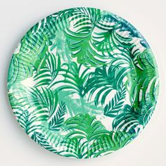 Palm Leaf Print Paper Plates (12 pack) from Pretty Little Party Shop - Stylish Party
