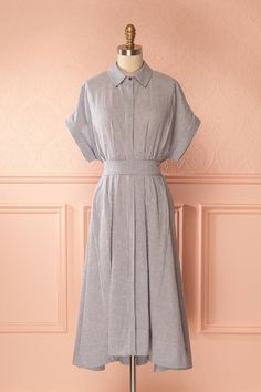 Anarita #Boutique1861/ Your casual style will have a countryside look thanks to this oversized shirt dress. An elegant version of a classic with its mid-length cut and removable belt that ties in a cute bow in either the back or the front. It buttons from top to bottom thanks to a row of small hidden buttons.