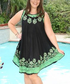 This Black & Green Embroidered Floral Sleeveless Dress - Plus by Ananda's Collection is perfect! #zulilyfinds
