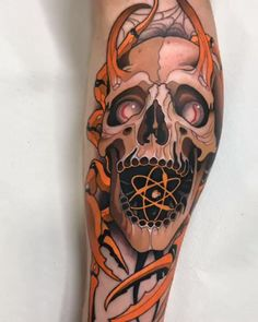 Skull tattoo in neo traditional style created by Spanish tattoo artist Javier Franco. Traditional Tattoo Skull, Neo Traditional Art, Dove Tattoos, Skull Tattoos, Sleeve Tattoos, Modern Tattoos, Unique Tattoos, Integrity Tattoo, Skull Tattoo Design