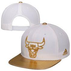 adidas Chicago Bulls 2Tone Metallic Gold Snapback Hat - White/Gold