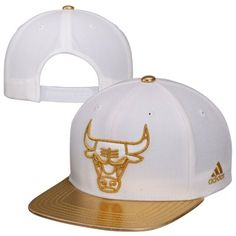 adidas Chicago Bulls 2Tone Metallic Gold Snapback Hat - White/Gold