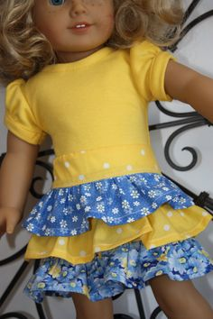 American girl doll clothes, 18 inch doll clothes, blue and yellow ruffled skirt with t-shirt American Doll Clothes, Ag Doll Clothes, Doll Clothes Patterns, Clothing Patterns, Doll Patterns, Girl Dolls, Girl Outfits, Swimsuit Pattern, Bitty Baby