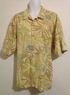 Tommy Bahama Yellow Hawaiian Print Silk Button Down Shirt Size XL #TommyBahama #Hawaiian