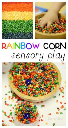 Rainbow Activity with Colorful Corn Sensory Play - Explore all of the colors of the rainbow through sensory play