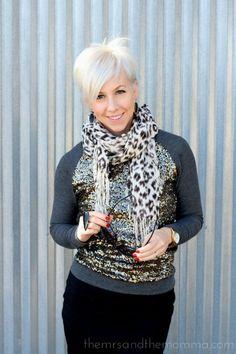 Pixie cut // the MRS. & the MOMMA: Smart Style: Pixie + Sequin Sweatshirt